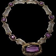Art Deco  Czech Amethyst Glass Silver Filigree Choker Necklace
