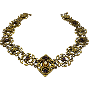 Art Nouveau Gold Plated Citrine and Amethyst Floral Filigree Choker Necklace