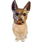 Rare Boston Terrier Smoking Cigar Liquor Decanter