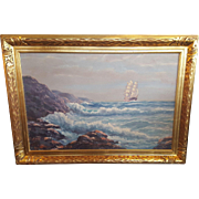 Helio Wernegreen Vintage Ship Painting With Crashing Waves, Framed (Danish/American, 1907 - 1979)
