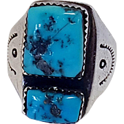 Sterling Chunky Turquoise Native American Ring Size 10