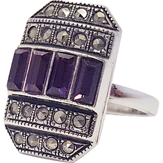 Art Deco Sterling Silver Marcasite and Amethyst Ring Size 6