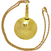 """Modernist """"ART"""" Hammered Brass disk or pan on Chain Necklace"""