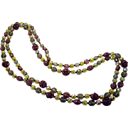 Mardi Gras Vintage Purple Yellow Smokey Glass Sparkly Glass Bead Necklace