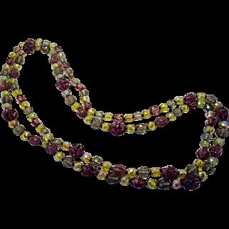 Mardi Gras Vintage Purple Yellow Smokey Glass Sparkly Glass Bead Necklace