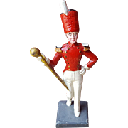 Vintage Cast Iron Doorstop Door Stop Parade Drum Major Littco With Original Paint.