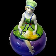 Beautiful Art Deco Tashiro Shoten Japan Figural Deco Girl Powder Box Doll In Green Dress and Hat With Fan 6.5 Inches Tall Dresser Doll