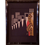 Erte Art Deco 'Top Hats' Silk Scarf Lithograph Framed Art