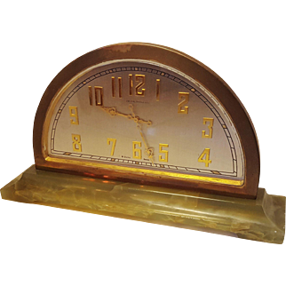 J E Caldwell 8 day Swiss Movement Onyx and Brass Clock with Swiss Movement WORKING