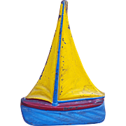 Cast Iron Primary Color Sailboat Door Stop Bookend