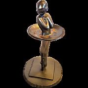 Rare Frankart Figural Art Deco Ballerina Dancer 2 Piece Individual Ashtray Holder