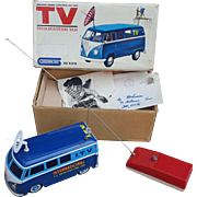 "Volkswagen 223 TV Broadcasting Van, Gakken Toy Japan Tin Litho Battery Operated Radio controlled - 8""l. ""International T.V. Broadcasting Van"" With Box"