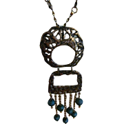 Vintage 925 and turquoise beaded articulating dangle necklace/pin/brooch