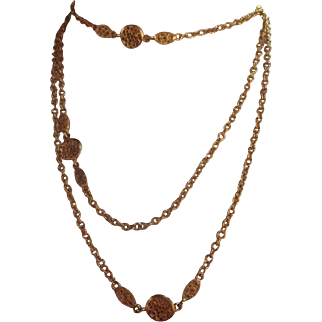"""Vintage extra long gold tone chain with embellishments necklace-60"""" long Necklace"""