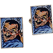 German Made Bizarre Devil Face Enameled Man Head Cuff Links