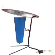 Rare French 1950's UFO Lamp With Aluminum Shade MCM Mid Century Blue Modern Desk Lamp Table Lamp Reading Lamp