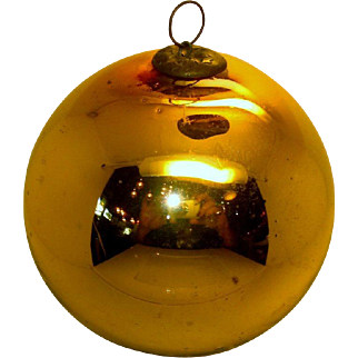 Antique German Kugel Christmas Ornament gold colored 5 inches - 1800's