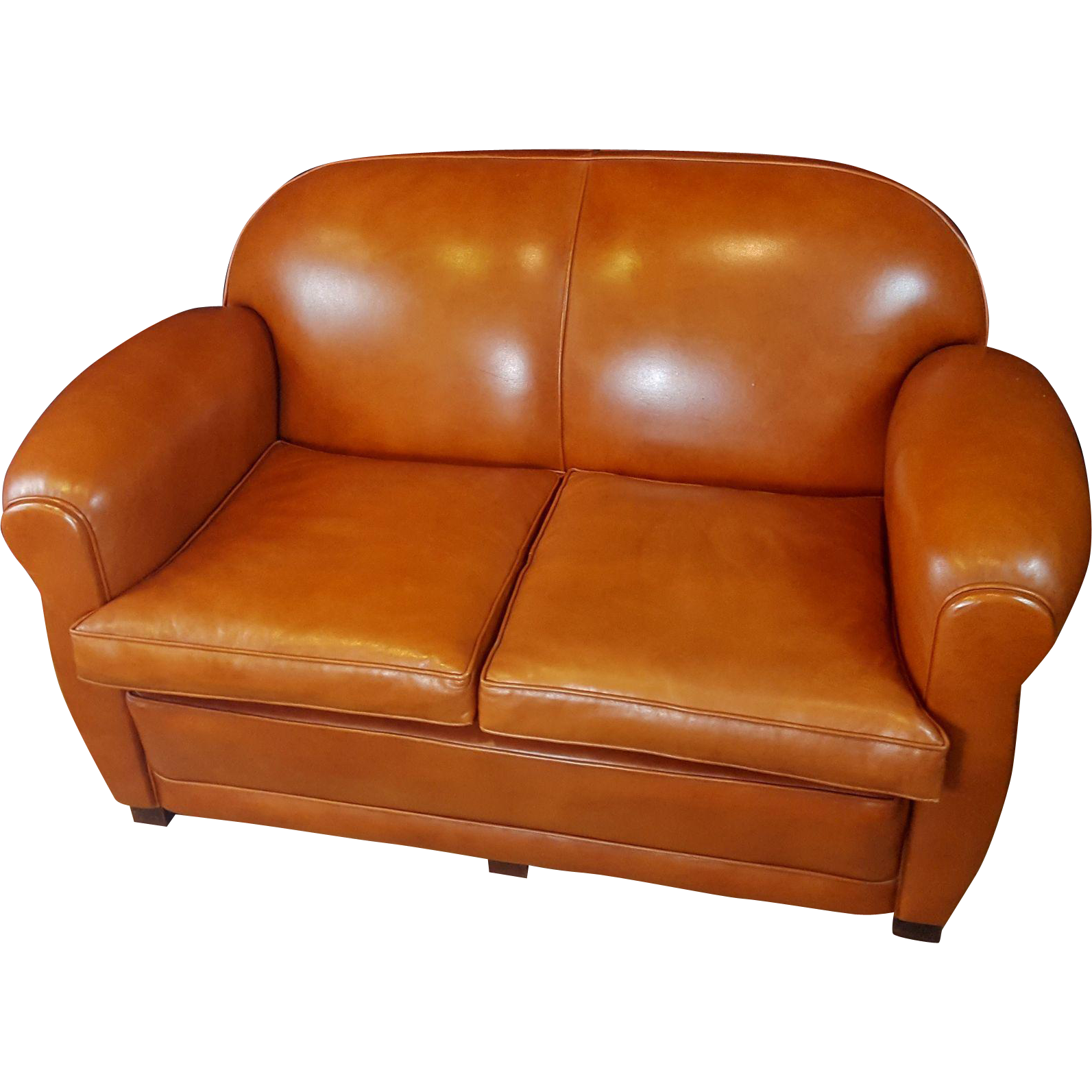 French Art Deco Leather Light Rusty Brown Club Style Two Seat Love Seat Couch Sofa