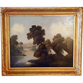 Early 20th Century Oil on Canvas (Linen) House on the Water Wit Trees and Mountains In Gold Frame