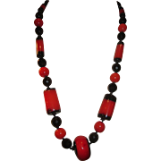 Vintage 1950's lucite orange and black Faux onyx and Coral Bead Necklace