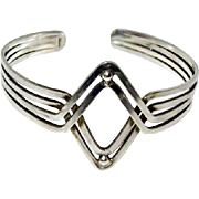Art Deco Egyptian Sterling Geometric Cuff Bracelet