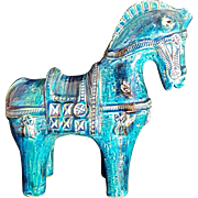 Italian Aldo Londi Bitossi Art Ceramic Pottery Rimini Blue Horse Sculpture