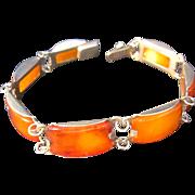 Vintage 800 silver Baltic amber seven panel Bracelet
