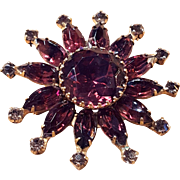 Vintage Purple Amethyst Glass Rhinestone Gold Tone Brooch Pin