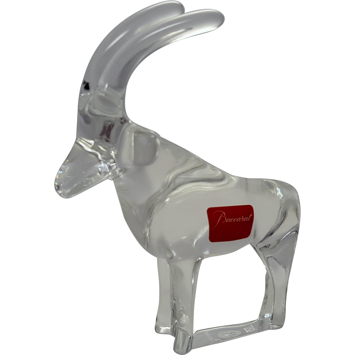 Signed Antelope Gazelle Baccarat Glass Animal Sculpture Noah's Ark