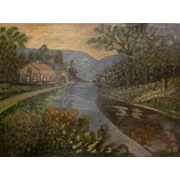 Large Antique 19th c. Folk Primitive Outsider Naive Painting House by river