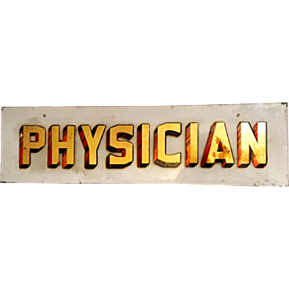 Antique Reverse Painted and Foiled Glass Red and Gold Medical Physicians Medical Sign
