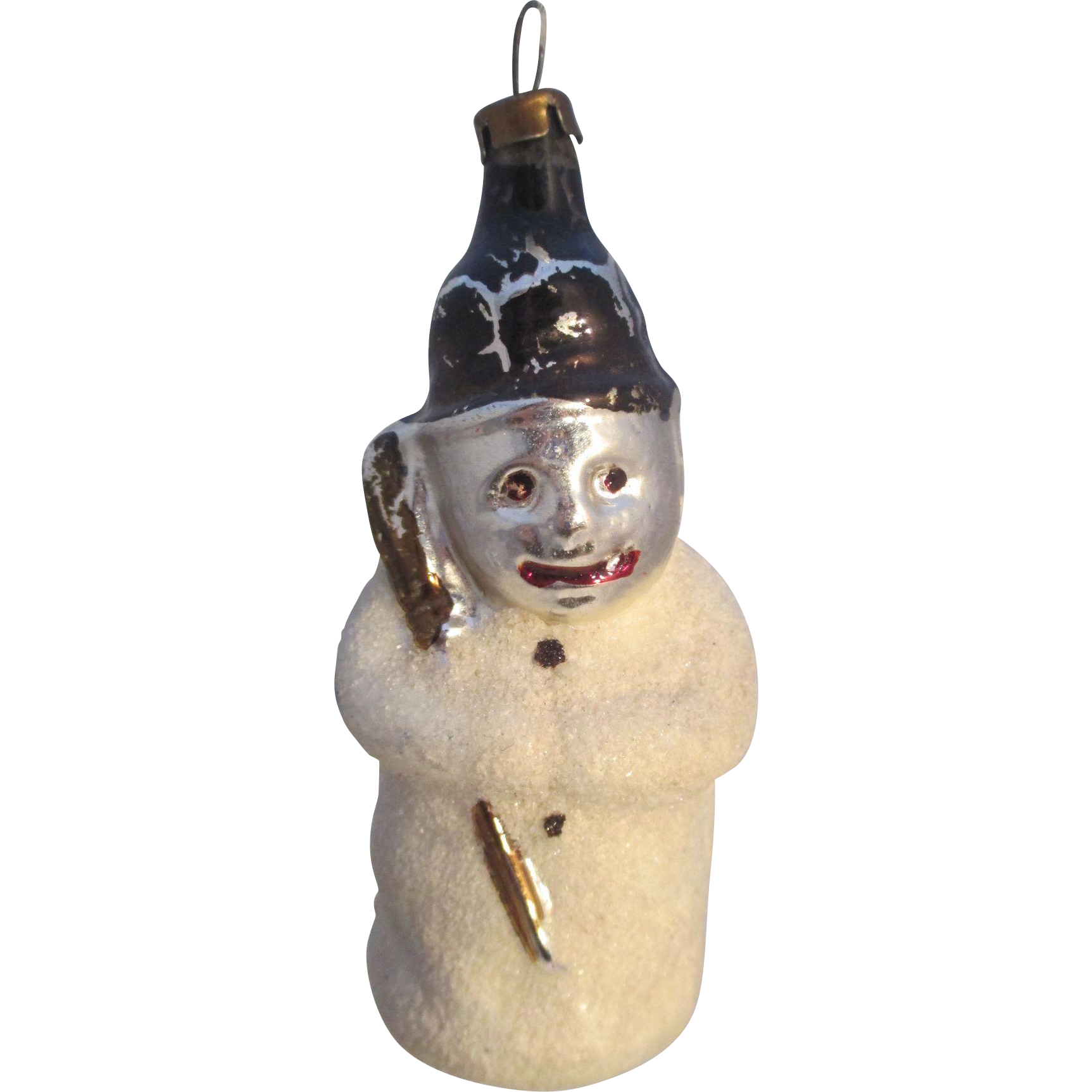 Snowman with Hat and Broom Vintage Mercury Glass Ornament, Excellent Condition