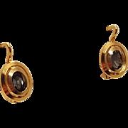18k Yellow Gold Aquamarine Pierced Post Earrings