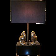 Art Deco Figural Gazelle Table Lamp Black and Chrome