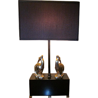 Art Deco Figural Gazelle Table Lamp Black and Chrome