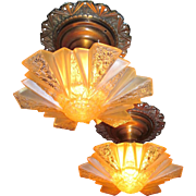 Pair Art Deco Modernizer Slip Shade Chandeliers -Rare and Complete - Original Glass, Canopies and Ceiling Plates