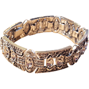 Art Deco Style Rhinestone Bridal Bracelet Clear Stones Marquis Cut 7 Inch