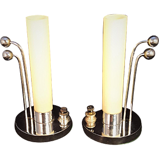 Art Deco Modernist Arched Chrome Spheres and Cream Cylinder Glass Boudoir Table Lights MCM Mid Century Modern