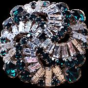 Vintage Art Deco Austrian crystal  Emerald and Clear brooch