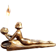 1923 Art Deco Electrolite Nude Lady Light and With Original Ashtray
