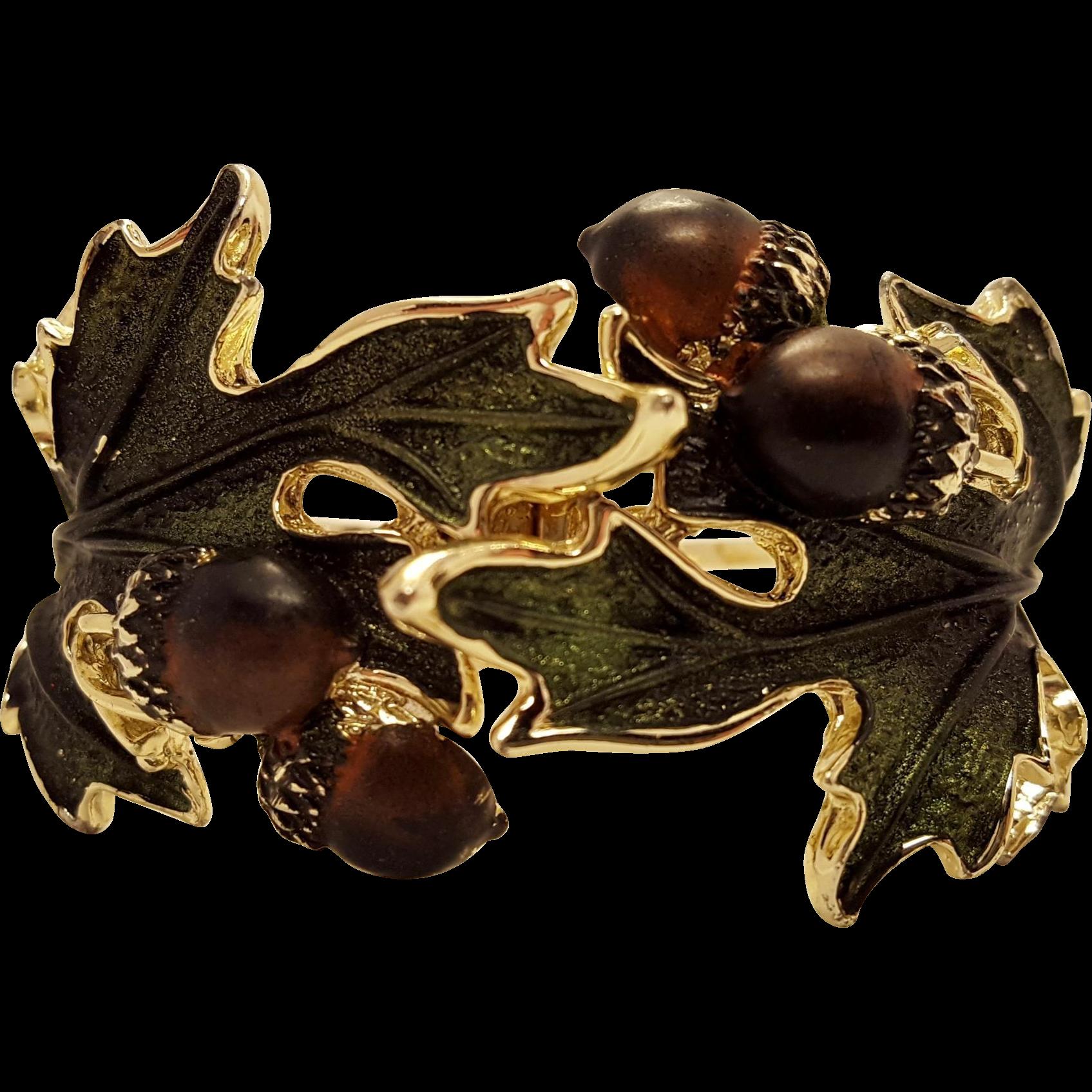 Vintage Acorn Hinged Cuff Bracelet