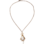 Art Nouveau Vintage Cameo Necklace With Seed Pearls on Gold Tone Chain
