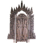 Asian Temple Entryway Doors, Hand Carved Teak wood, 2 Doors Depicting Devatas and Archway