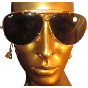 Vintage B&L Ray-Ban USA 2 7/16 inch Aviator Sunglasses Eyeglasses 1960s Gold Tone Metal Brow Bar Bullet Hole Shooter Shooting Wraparound Cable