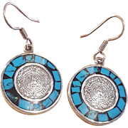 Sterling Silver Turquoise Aztec Calendar Onyx Dangle Earrings
