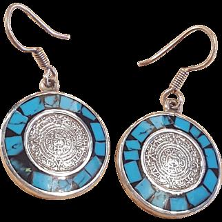 Sterling Silver Turquoise Aztec Calendar Onyx Dangle Earrings