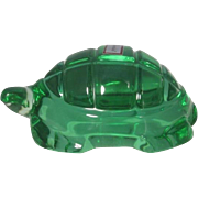 Baccarat Green Crystal Turtle