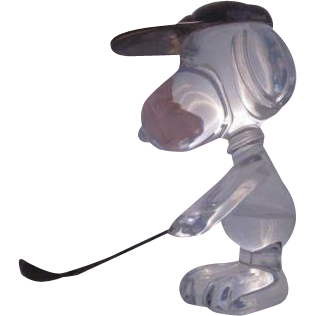 Baccarat Crystal Golfing Snoopy Art Glass Figure Active