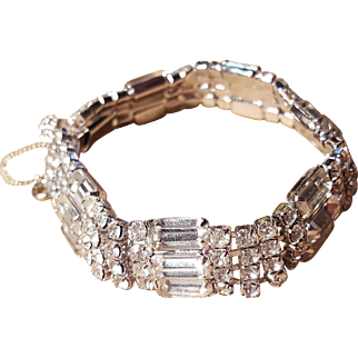 Brilliant Baguette Bright Clear Rhinestone Bridal Wedding Bracelet Vintage Bracelet With Safety Chain
