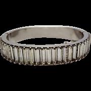 Baguette Channel Set Rhinestone Hinged Bangle Bracelet